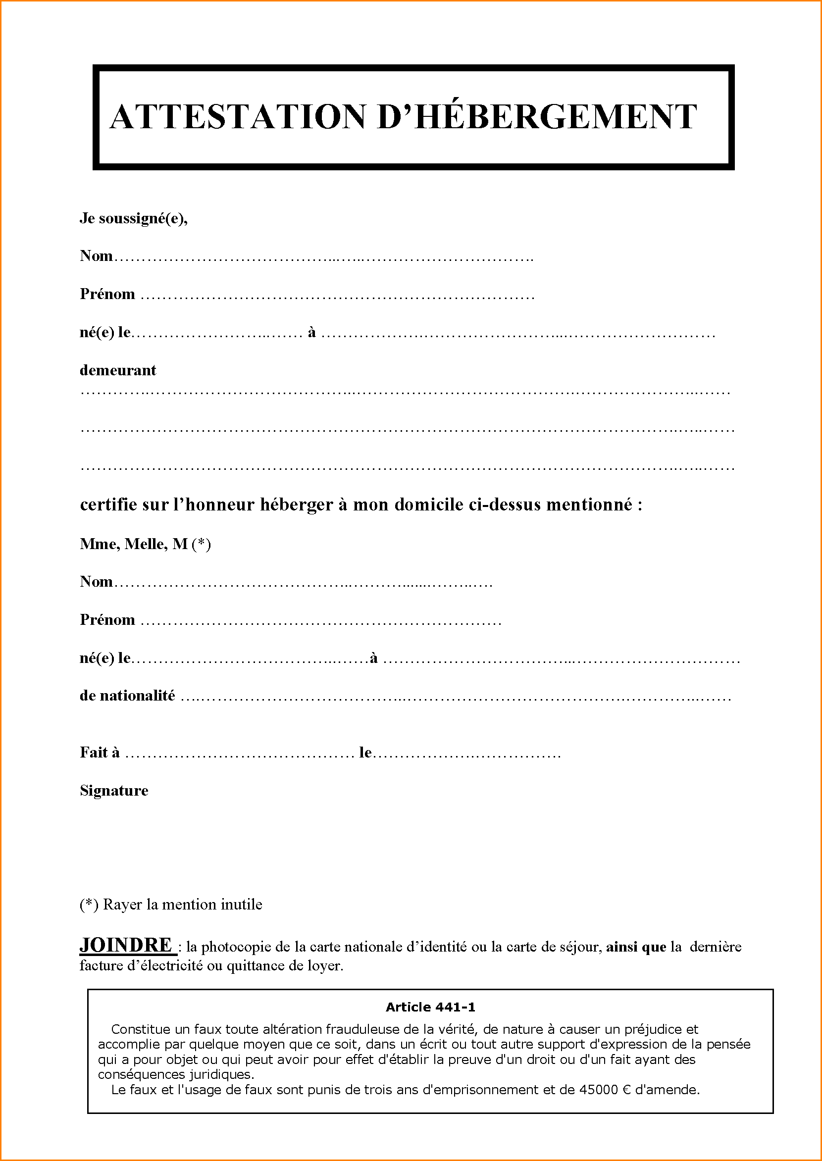 model-attestation-d-hebergement-attestation_hebergement 5+ model ...