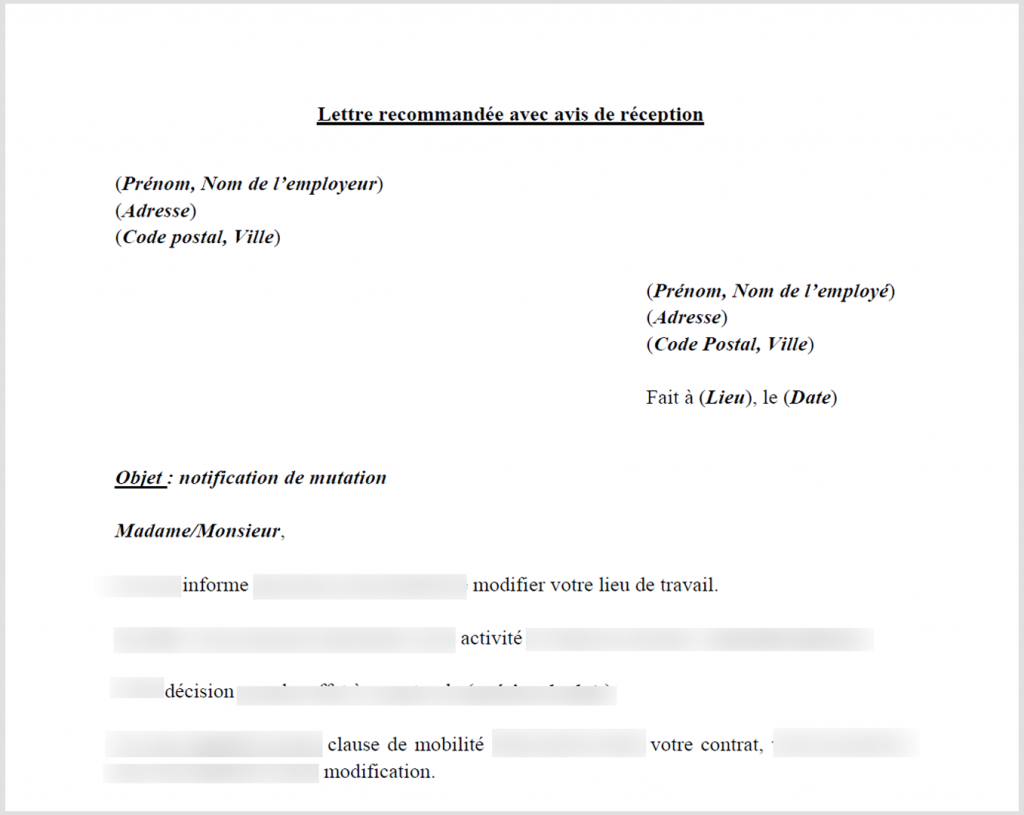 Modele courrier changement adresse | Frefred