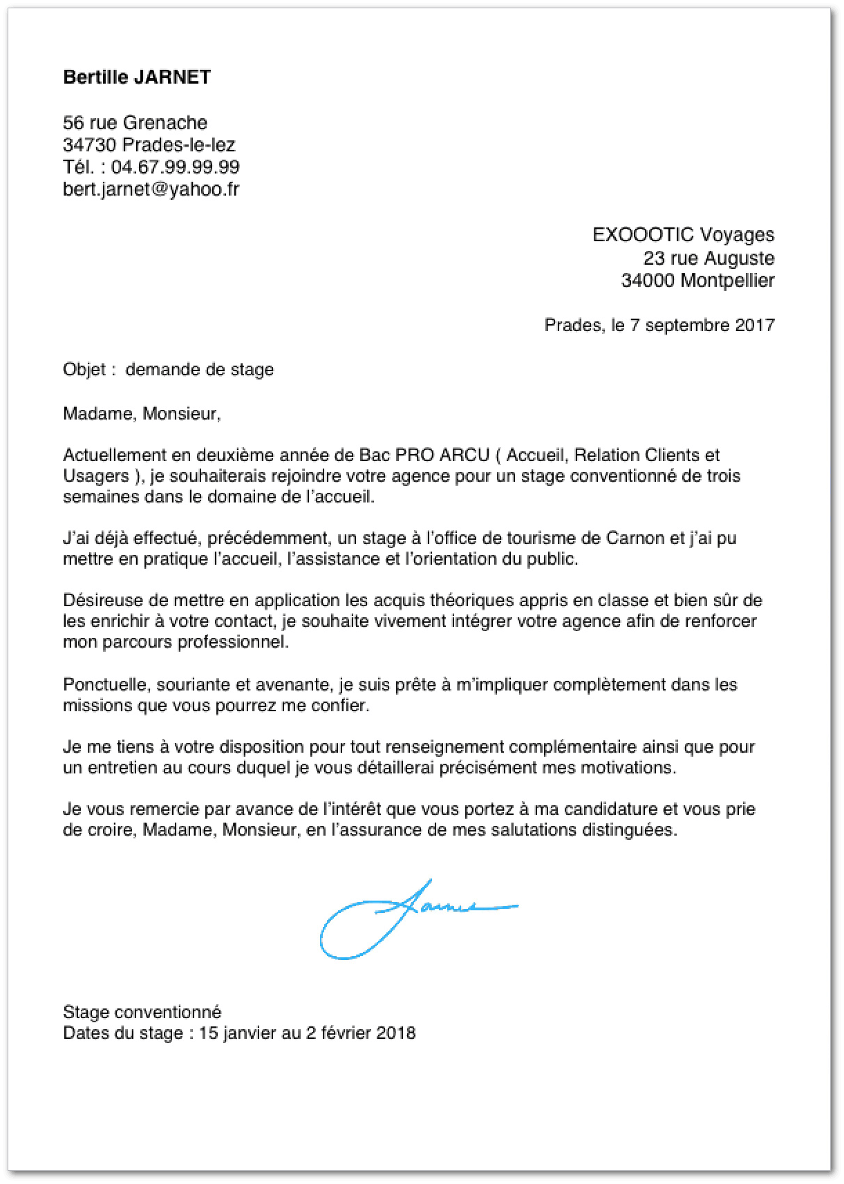 Exemple de lettre de motivation pour un stage en bac pro