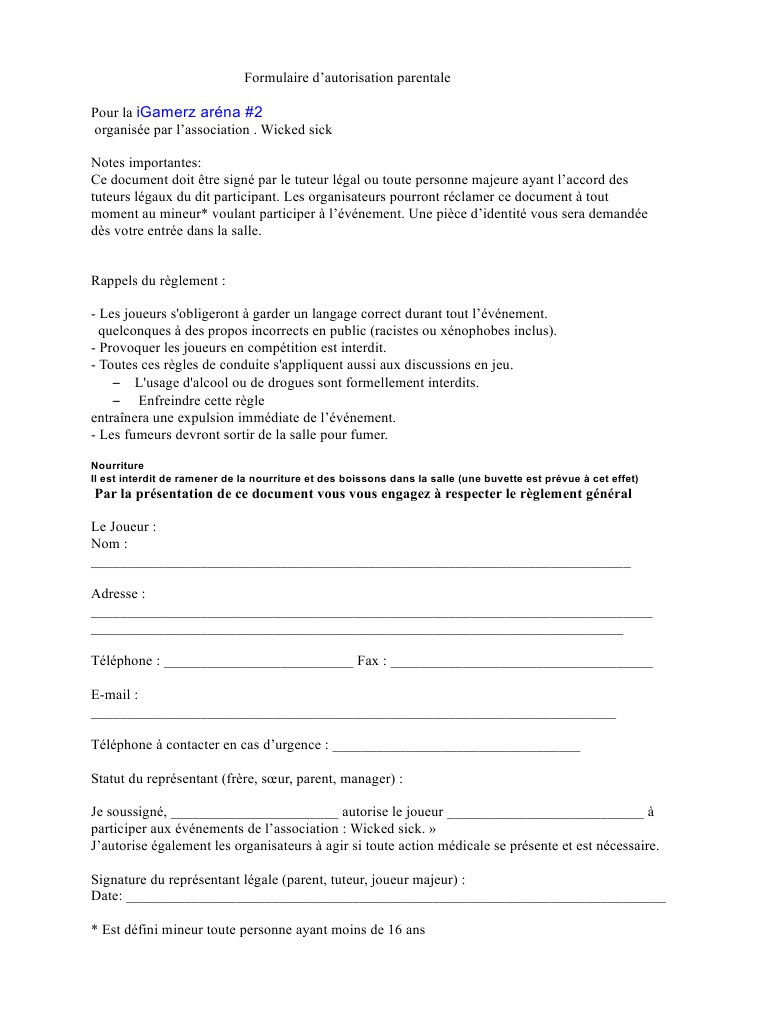 lettre autorisation parentale inscription  u00e9cole
