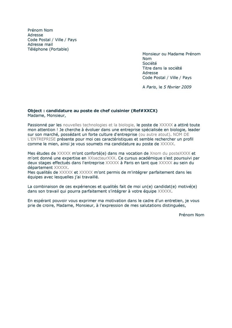 lettre courrier type