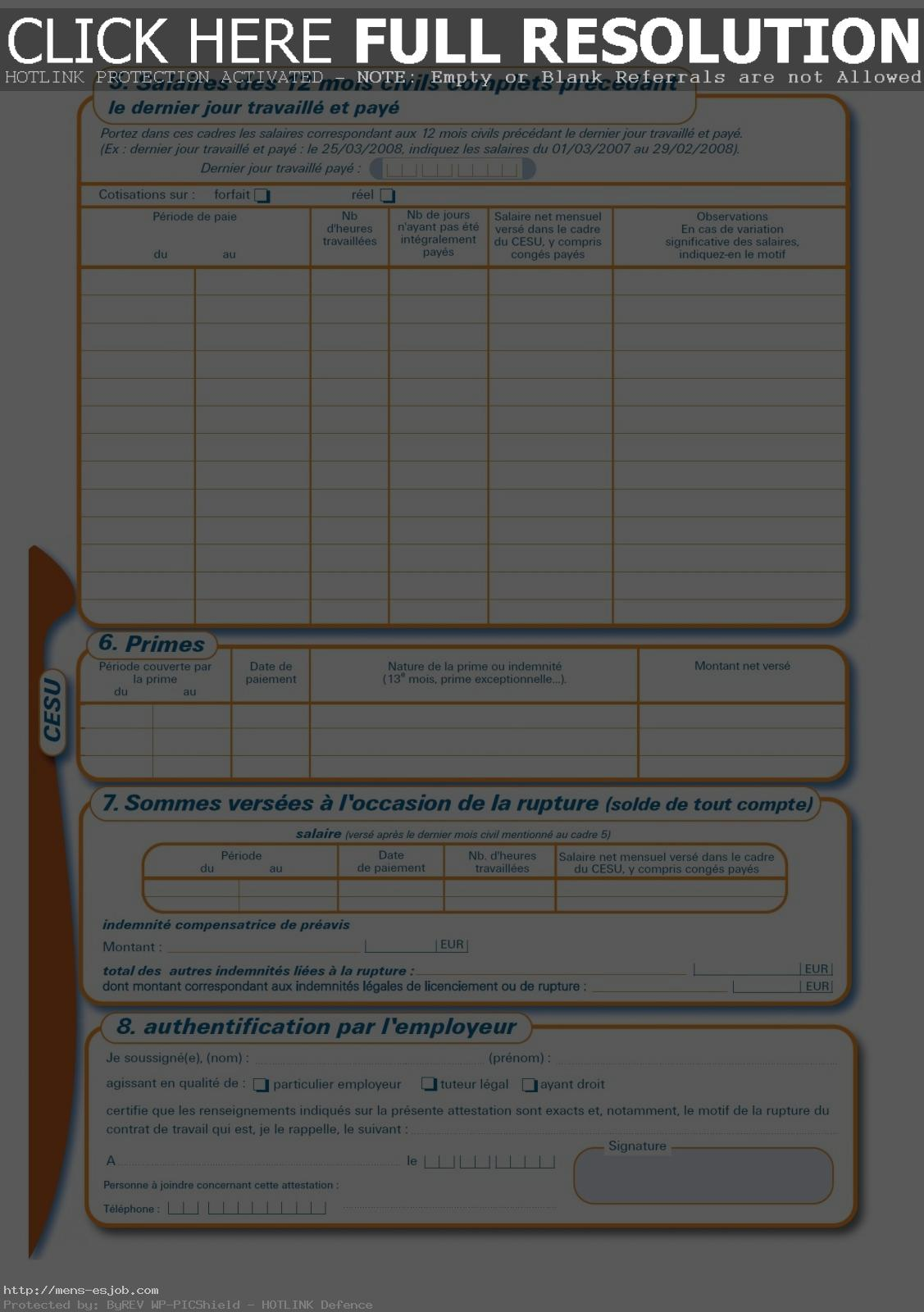 Document Modele Attestation Pole Emploi Cesu 4 In Vierge Pdf - mens ...
