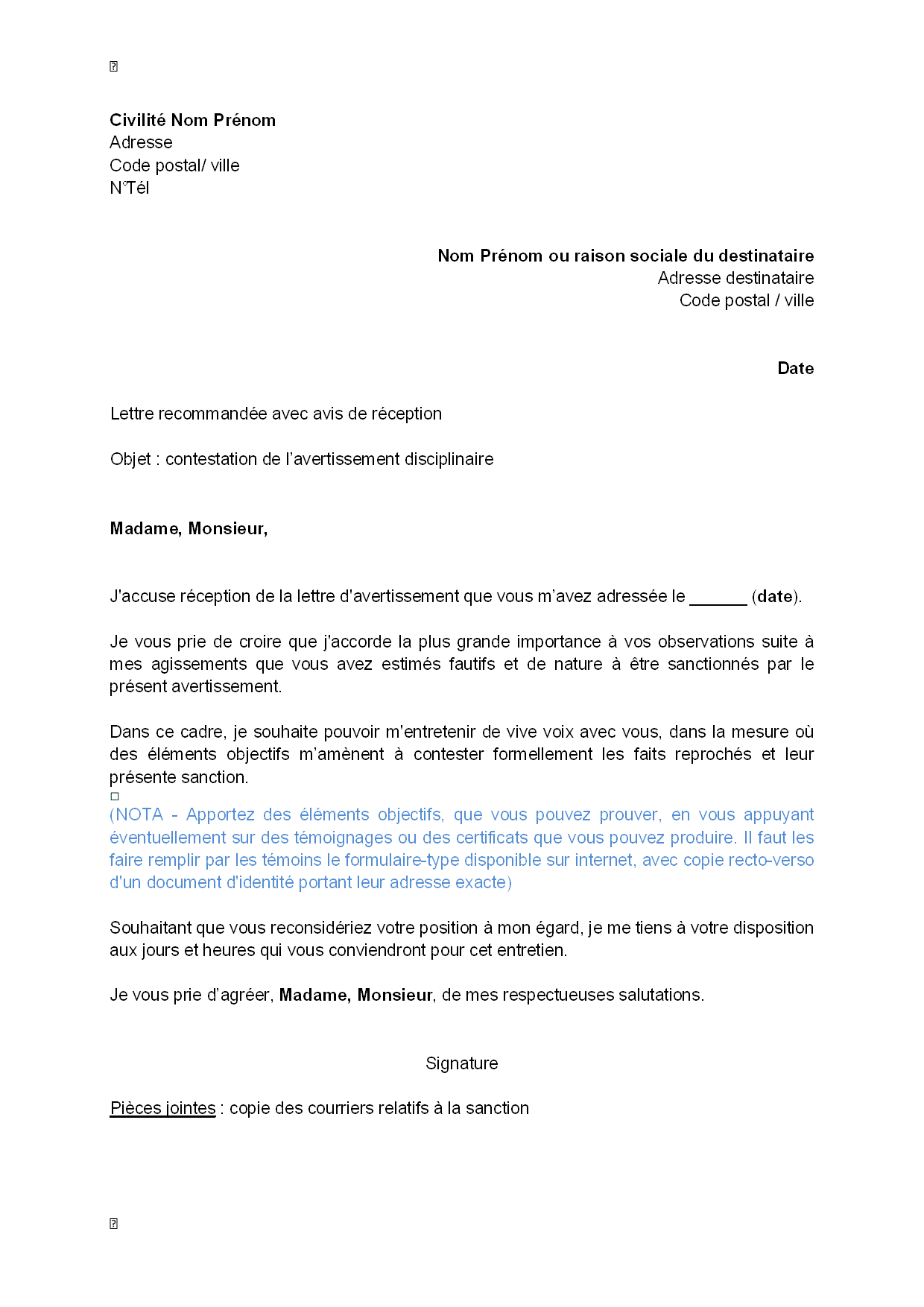 Exemple de courrier modele lettre reclamation | Bedots