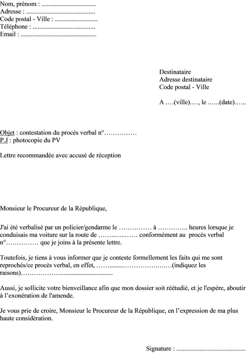 modele lettre pour contestation opposition administrative