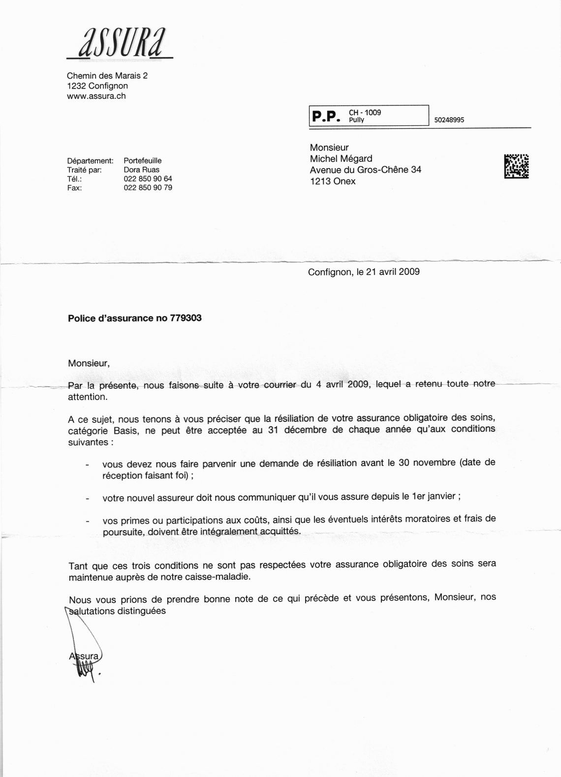 resiliation assurance maladie lettre